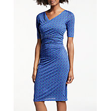 Buy Boden Rita Ruched Jersey Dress, Greek Blue Scoop Spot Online at johnlewis.com