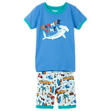 Buy Hatley Children's Shark Beach Print Short Pyjamas, Blue Online at johnlewis.com