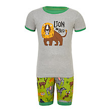 Buy Hatley Children's Safari Short Pyjamas, Grey/Green Online at johnlewis.com
