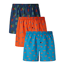 Buy John Lewis Jungle Print Woven Cotton Boxers, Pack of 3, Navy/Orange/Blue Online at johnlewis.com