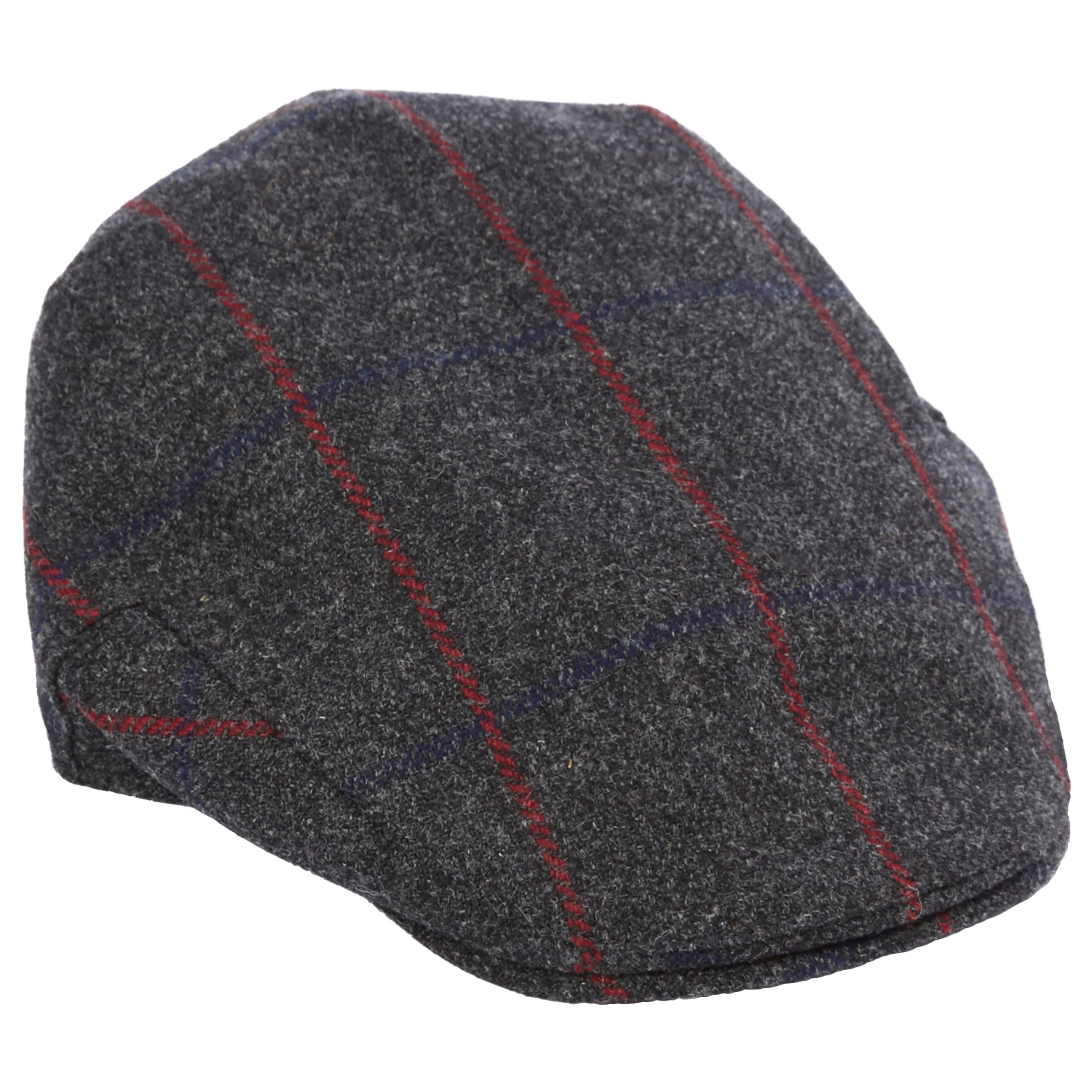 759ab374e Christys' Balmoral Wool Tweed Flat Cap, Charcoal/Red at John Lewis ...