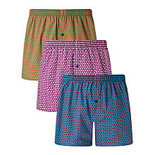 Buy John Lewis Elephant Print Woven Cotton Boxers, Pack of 3, Green/Purple/Blue Online at johnlewis.com