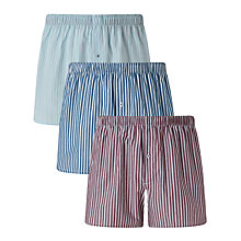 Buy John Lewis Stripe Woven Cotton Boxers, Pack of 3, Light Blue/Navy/Purple Online at johnlewis.com
