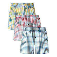 Buy John Lewis Gingham Woven Cotton Boxers, Pack of 3 Yellow/Red/Blue Online at johnlewis.com