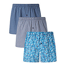 Buy John Lewis Floral Print Woven Cotton Boxers, Pack of 3, Blue Online at johnlewis.com