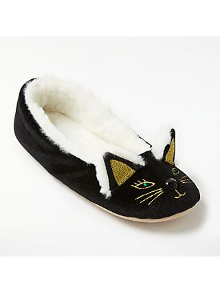 John Lewis & Partners Cat Ballet Slippers, Black