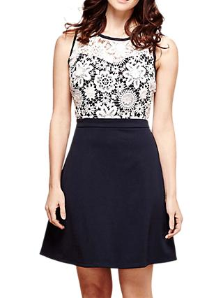 Yumi Floral Lace Top Dress, Dark Navy
