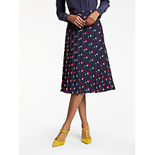 Buy Boden Annabell Pleated Skirt, Navy Shadow Spot Online at johnlewis.com