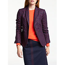 Buy Boden Elizabeth British Tweed Blazer, Navy/Post Box Red Online at johnlewis.com