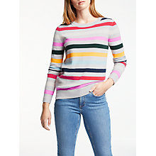 Buy Boden Cashmere Striped Crew Neck Jumper, Silver Melange Stripe Online at johnlewis.com