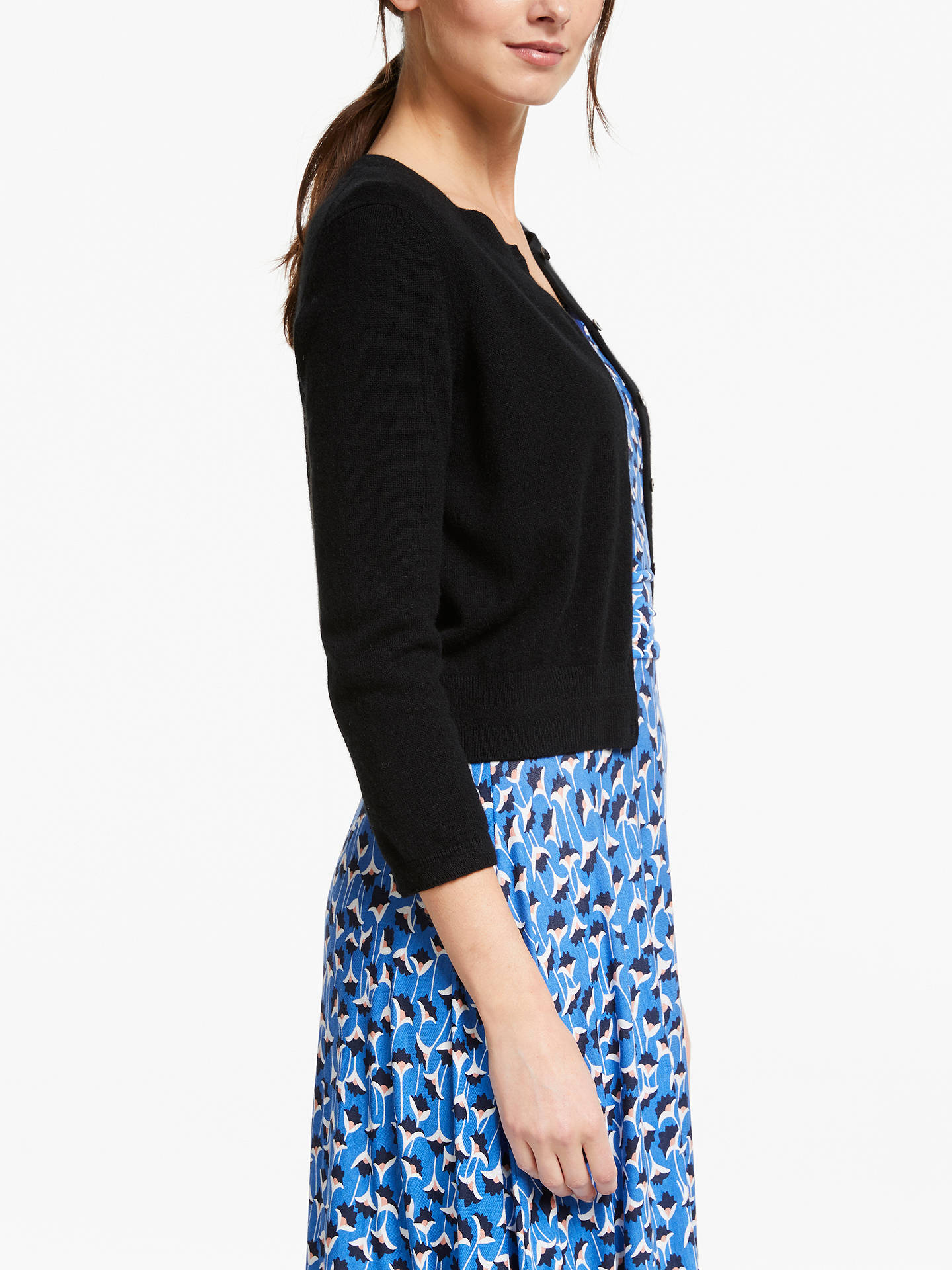 Buy Boden Cashmere Crop Crew Neck Cardigan, Black, XS Online at johnlewis.com