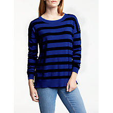 Buy Boden Grace Striped Button Jumper, Greek Blue/Eclipse Online at johnlewis.com