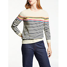 Buy Boden Cashmere Striped Crew Neck Jumper, Ivory/Navy Stripe Online at johnlewis.com