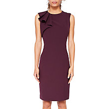 Buy Ted Baker Suriad Shoulder Frill Pencil Dress, Maroon Online at johnlewis.com