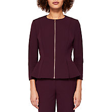 Buy Ted Baker Suria Peplum Zip Through Jacket, Maroon Online at johnlewis.com