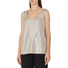 Buy Reiss Gemma Metallic Front Vest Top, Gold Online at johnlewis.com