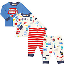 Buy John Lewis Baby London Transport Pyjamas, Pack of 2, Blue/Red Online at johnlewis.com