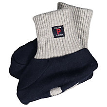 Buy Polarn O. Pyret Baby Bear Booties, Navy/Grey Online at johnlewis.com