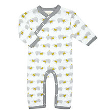 Buy Pigeon Organics Baby Badger Long Sleeve Romper, Grey Online at johnlewis.com
