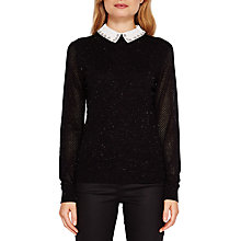 Buy Ted Baker Helin Embellished Collar Sparkle Jumper, Black Online at johnlewis.com