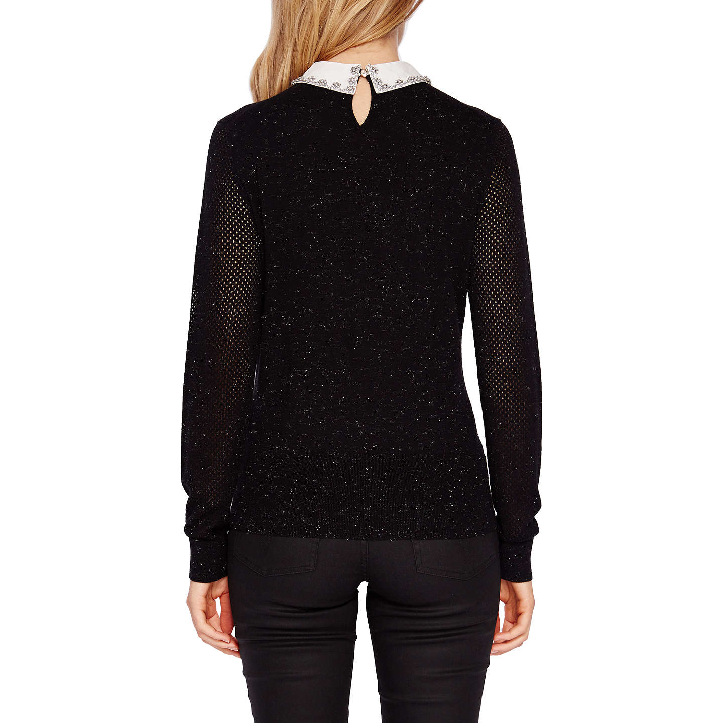 BuyTed Baker Helin Embellished Collar Sparkle Jumper, Black, 6 Online at johnlewis.com