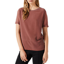 Buy Jigsaw Front Panel T-Shirt, Clay Pink Online at johnlewis.com