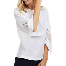 Buy Jaeger Broderie Detail Linen Top, White Online at johnlewis.com