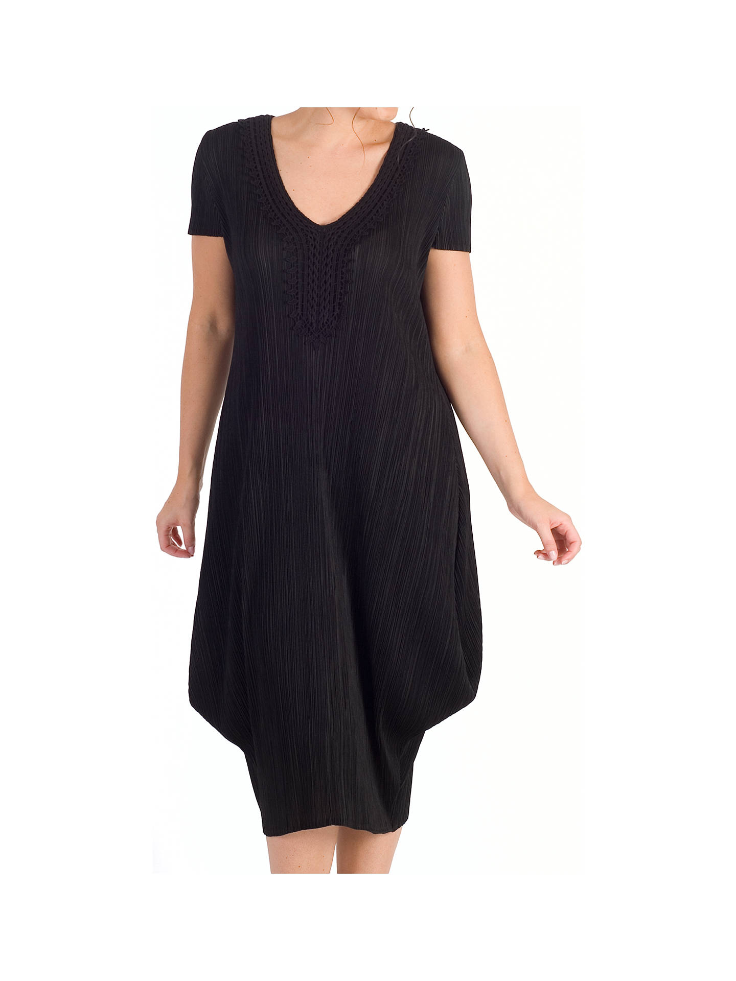 Buy Chesca Crushed Pleat Draped Dress, Black, 12-14 Online at johnlewis.com