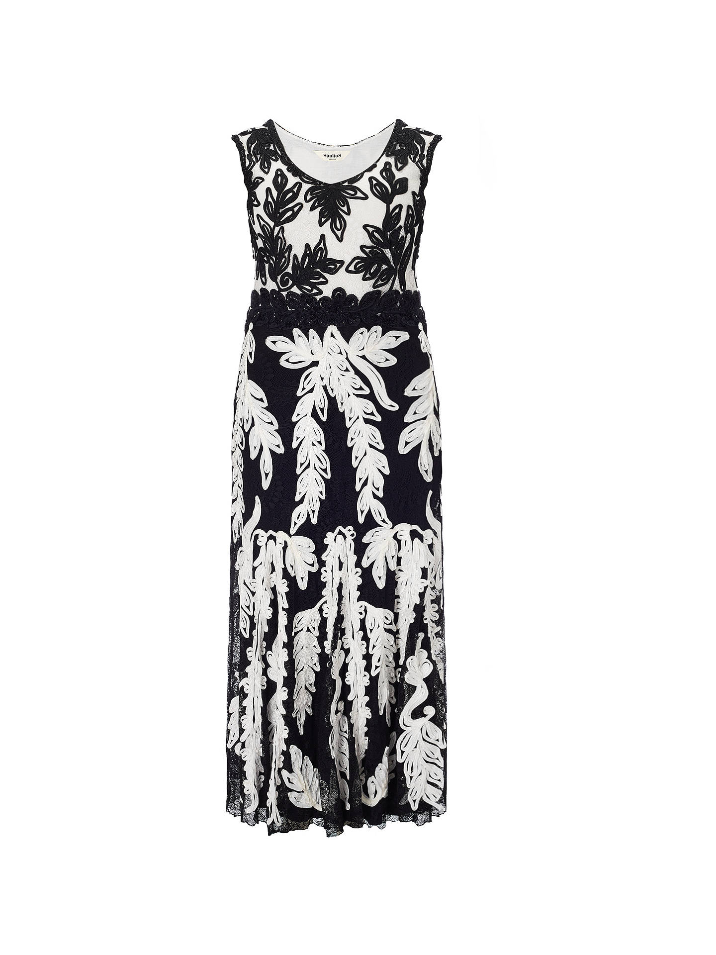 BuyStudio 8 Lizzie Tapework Maxi Dress, Black/White, 16 Online at johnlewis.com