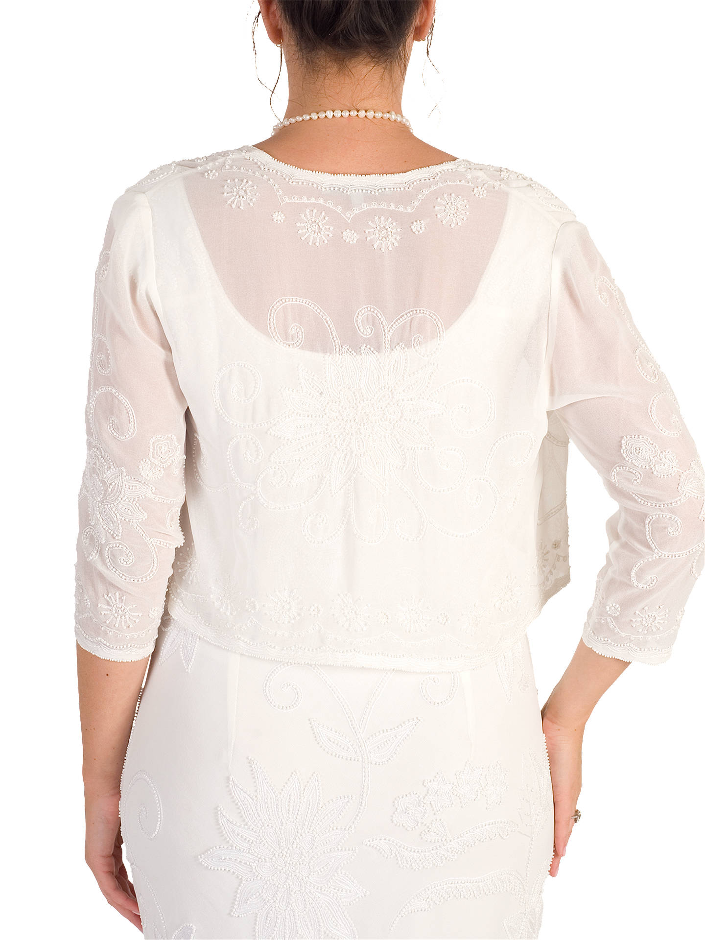 BuyChesca Embroidered Beaded Bridal Bolero, Ivory, 14 Online at johnlewis.com