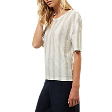 Buy Jaeger Linen Stripe T-Shirt, Ivory/Grey Online at johnlewis.com