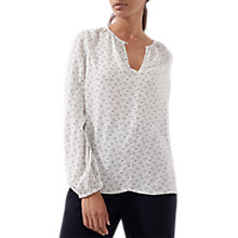Buy Jigsaw Spot Open Neck Blouse, Ivory Online at johnlewis.com