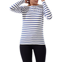 Buy Jigsaw Retro Stripe Jersey Top, Pacific Blue Online at johnlewis.com