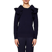 Buy Ted Baker Brosi Frilled Shoulder Jumper, Navy Online at johnlewis.com