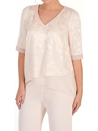 Chesca Leaf Jacquard Layered Tunic, Blush