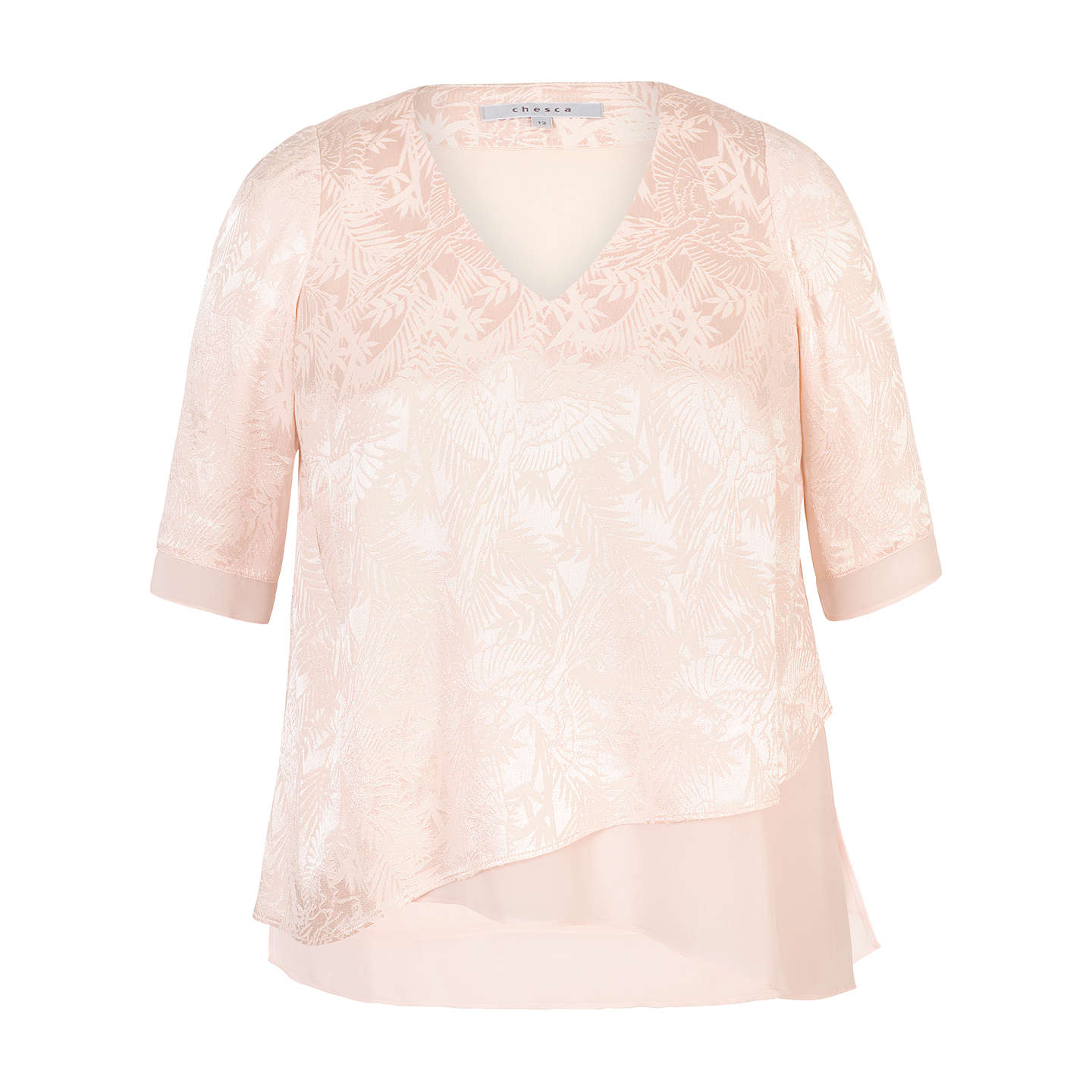 BuyChesca Leaf Jacquard Layered Tunic, Blush, 14 Online at johnlewis.com