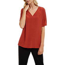 Buy Jaeger Silk V-Neck Top With Pockets, Red Online at johnlewis.com