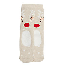 Buy John Lewis Children's Reindeer Terry Slipper Socks, Cream Online at johnlewis.com