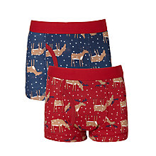 Buy John Lewis Boys' Christmas Reindeer Trunks, Pack of 2, Multi Online at johnlewis.com