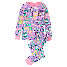 Buy Hatley Children's Kitty Candy Long Sleeve Pyjamas, Purple Online at johnlewis.com