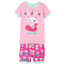 Buy Hatley Children's Felines Floats Applique Pyjamas, Pink Online at johnlewis.com