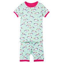 Buy Hatley Children's Roly Poly Unicorns Short Sleeve Pyjamas, Turquoise Online at johnlewis.com