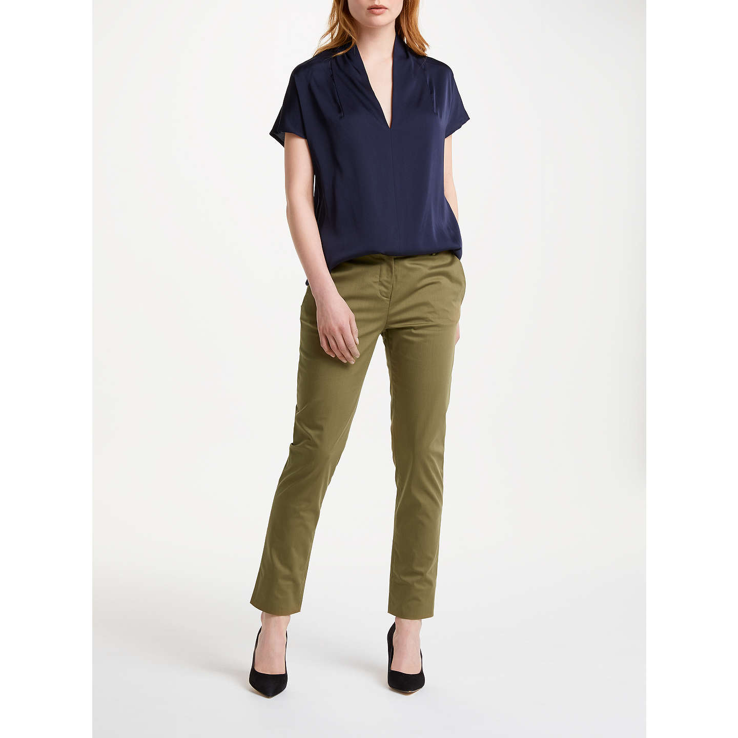 BuyWinser London Cotton Twill Straight Leg Trousers, Khaki, 8 Online at johnlewis.com