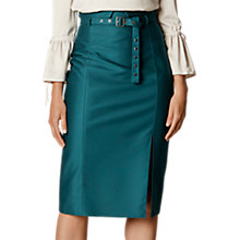 Buy Karen Millen Belted Stud Pencil Skirt, Teal Online at johnlewis.com