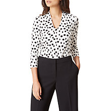 Buy Hobbs Aimee Printed Top, Black Ivory Online at johnlewis.com