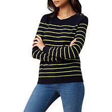 Buy Hobbs Sienna Jumper, Navy/Lime Green Online at johnlewis.com