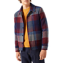Buy Jigsaw Italian Blanket Check Coat, Redwood Online at johnlewis.com