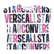 Buy Converse Girls' Party Print T-Shirt, White/Pink Online at johnlewis.com
