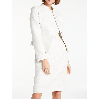 Bruce by Bruce Oldfield Sparkle Fitted Jacket, Ivory/Silver