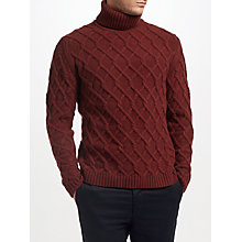 Buy JOHN LEWIS & Co. Made in Scotland Trellis Cable Knit Jumper, Burgundy Online at johnlewis.com